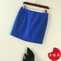 韩版女装夏 名媛风纯色蕾丝拼接后中拉链包臀短裙半身裙