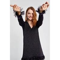 春装新款亮光罗纹V领显瘦中长款针织衫上衣女