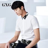GXG衬衫男装 夏装男士时尚青年气质潮流休闲都市白色拼接领衬衫潮