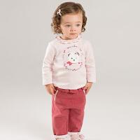 戴维贝拉秋冬新款女童套装 宝宝卡通休闲两件套DBJ7860