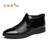 红蜻男士皮鞋真皮尖头商务正装男鞋漆皮休闲鞋子男