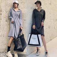 连衣裙长袖孕妇裙子 孕妇装秋装新款韩版款长款懒惰风孕妇卫衣