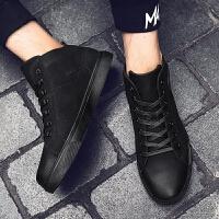 DAZED CONFUSED 潮牌冬季韩版中帮复古潮鞋男士黑色高帮板鞋英伦百搭系带休闲鞋