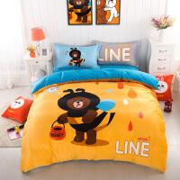 卡通天鹅绒儿童三件套1.5水晶绒加厚保暖床笠四件套1.8米床上用品