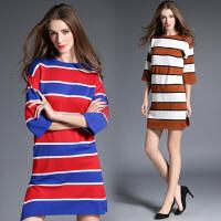 春秋新款彩色条纹七分袖毛衣连衣裙直筒时尚显瘦针织衫