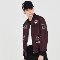 gxgjeans男装秋款紫色休闲青年潮流修身贴布绣夹克外套潮63621103