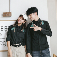 新款秋季羽毛刺绣长袖衬衫男情侣装韩版修身班服工装衬衣女生潮流