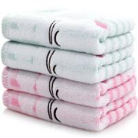 三利 全棉竖条卡通提花童巾四条装 中款洗脸面巾 25×50cm
