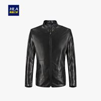 HLA/海澜之家经典立领PU夹克2019秋季新品净色挺括皮夹克外套男
