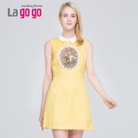 Lagogo/拉谷谷2014年秋季无袖女纯色修身显瘦女装连衣裙