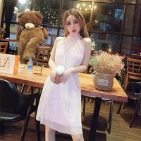2018夏装气质名媛挂脖露肩派对宽松显瘦亮片系带小礼服性感连衣裙