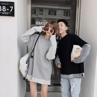 新款情侣装秋冬季男女韩版宽松套头毛衣袖子拼接条纹针织衫学生潮