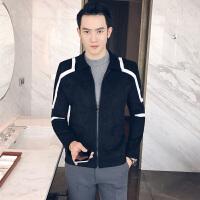 新款2018男外套青少年休闲立领夹克修身拉链男服装潮流英伦上衣秋
