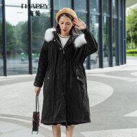 海贝2017冬季新女装毛领连帽中长款抽绳收腰加厚保暖棉衣棉服外套