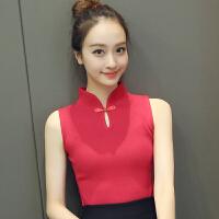 韩版秋季新款气质唐装旗袍立领无袖弹力修身针织打底衫 女