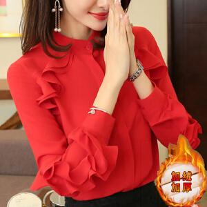 【超级品牌日!下单立减100!】红色雪纺上衣2018秋季新款女装荷叶边衬衣洋气小衫女士长袖女衬衫