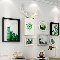 北欧风绿植照片墙相框挂墙组合 简约客厅沙发背景墙大墙鹿头钟表