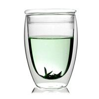 大号双层杯带盖玻璃杯子360ML果汁饮料杯开水杯家用凉水杯耐热高温玻璃杯花茶杯子水杯