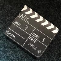 钱包男学生个性创意高中学生男士青少年短款折叠小卡通钱包 黑色 E款电影