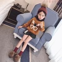 女童圣诞套装2018冬装儿童加绒加厚卫衣时髦短裤洋气两件套 黄绿18513(现货)