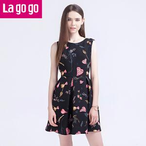 Lagogo/拉谷谷2016年秋季新款圆领时尚百搭无袖连衣裙