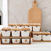 日式陶瓷方型掀盖上下层抽屉式调味罐调料盒调味瓶罐家用套装