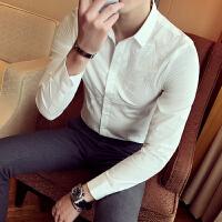 春季长袖衬衫男韩版修身刺绣花衬衫男士时尚休闲白衬衣发型师男装