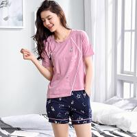 夏季韩版女生短袖短裤睡衣套装两件 韩版甜美可爱少女全棉居家服 HBN308 160/M 85-100斤