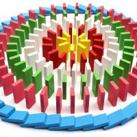 多米诺骨牌大号儿童积木1000片小学生比赛木制机关拼插玩具 5.4CM大号500片 22机关 2排码器