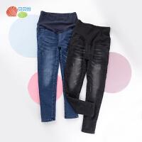 贝贝怡孕妇秋冬保暖牛仔裤新款产妇加绒加厚高腰托腹休闲长裤