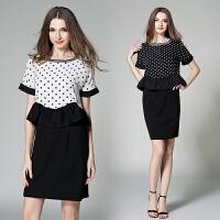 夏季新款女装连衣裙子名媛OL套装裙波点印花包臀黑白色