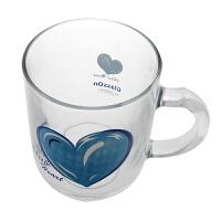 Glasslock 三光云彩蓝色玻璃心卡通玻璃小把杯270ml牛奶杯玻璃水杯子PG945