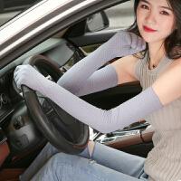 夏季防晒手套女冰蕾丝薄长款开车防滑五指分指触屏袖套户外手套