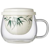玻璃茶杯陶瓷过滤内胆水杯手绘透明花茶杯耐热泡茶杯