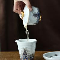 陶瓷金丝珐琅彩绘三才盖碗茶杯泡功夫茶具