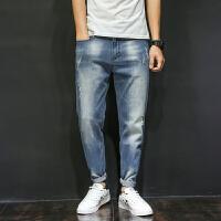 薄款牛仔裤哈伦裤男士夏季青少年潮流韩版弹力宽松小脚裤破洞长裤子 蓝色