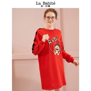 【一口价299元】拉贝缇外来先生IP连衣裙女2018新款学生可爱中长款卫衣裙