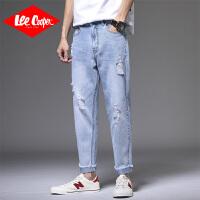 Lee Cooper牛仔裤男破洞潮流韩版修身小脚乞丐裤春秋季毛边