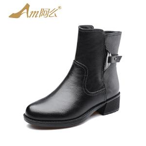 【冬季清仓】阿么粗跟英伦骑士靴圆头中跟马丁靴加绒短靴子女鞋短靴
