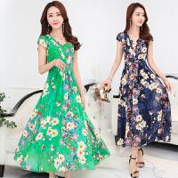 夏季连衣裙女新款韩版时尚裙中年夏装中长款夏天女装雪纺裙子
