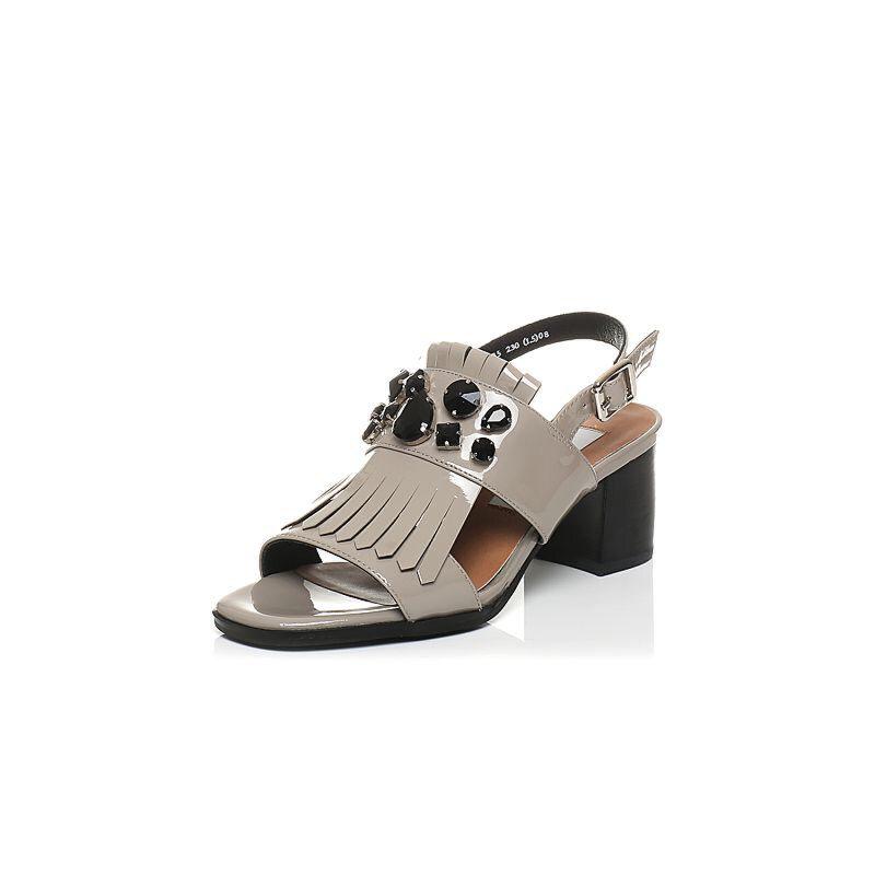 Tata/他她2017年夏季专柜同款漆牛皮水晶流苏女皮凉鞋FN205BL7