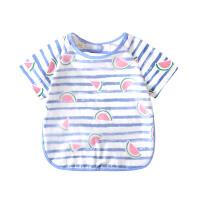 儿童罩衣宝宝口水吃饭围兜男女童夏季小孩画画喂饭反穿衣纯棉