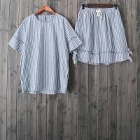QC43韩版条纹短袖睡衣+短裤套装百搭女士家居服棉麻休闲两件套潮