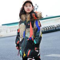 儿童羽绒服女童中长款加厚中大童童装2018新款韩版洋气冬装反季潮 花色