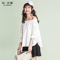 拉贝缇夏装新款韩版宽松中长袖衬衣一字领露肩白色衬衫上衣女60005192