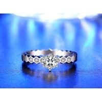 白金戒指个性日韩时尚气质18K玫瑰金莫桑石指环求婚皇冠钻戒女款