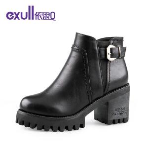 依思q冬季新款厚底粗跟高跟短靴皮带扣潮靴