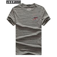 JEEP SPIRIT吉普 2018年新品夏季男士休闲圆领条纹短袖T恤 男MCP77