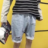 日系夏季新款破洞牛仔裤韩版男士宽松浅色五分裤学生直筒休闲中裤