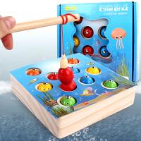 磁性早教幼儿1-3周岁2半动手 儿童宝宝木质小孩钓鱼玩具